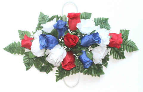Premium Exclusive- Standard Headstone Spray with Patriotic Silk Flower Mix
