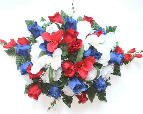 SF's Premium Exclusive- Large Headstone Spray with Patriotic Rose Bud Silk Flower Mix