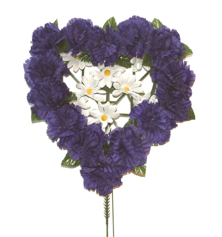 Purple Heart Shaped Flowered Wreath Pillow