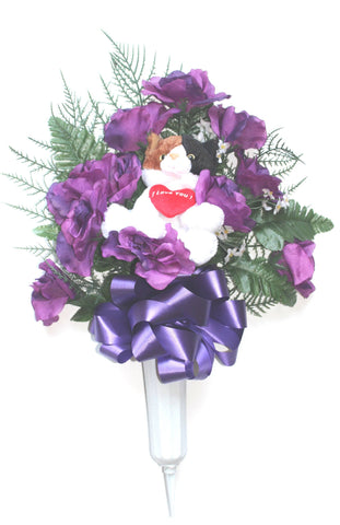 Plush Cat Memorial Flower Vase -Purple