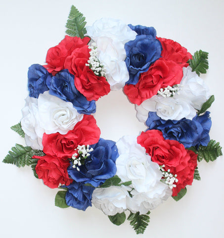 GSF Premium Exclusive - 16 inch Wreath Red, White, and Blue Roses