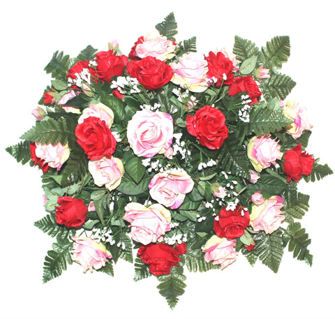 GSF's Premium Exclusive Headstone Flower Package with Rose Mix-Choose Size and Color