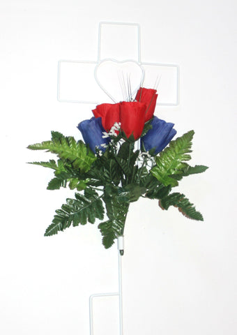 Cross Wire Stand - Red and Blue Roses