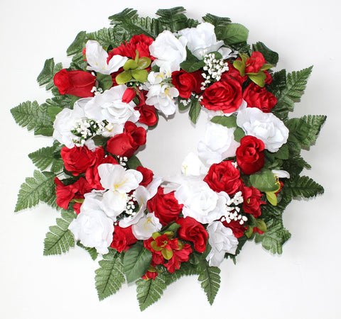 Premium Exclusive - 16 inch Wreath with Red and White Roses