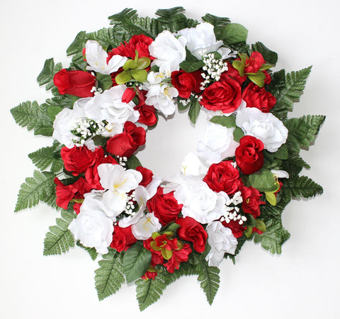 GSF Premium Exclusive - 22 inch Wreath with Red and White Roses