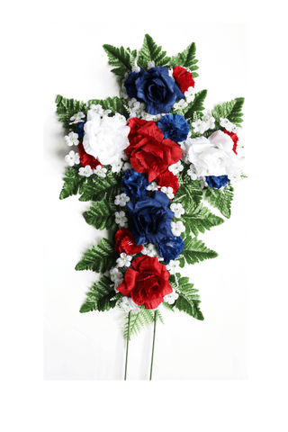 Wreath Cross Pillow - Red, White, and Blue- 12 Inch