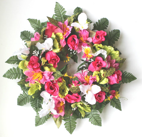 GSF Premium Exclusive - 14 inch Wreath with Bright Pink Roses and Spring mix