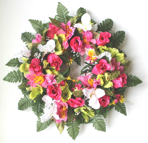 GSF Premium Exclusive - 22 inch Wreath with Bright Pink Roses and Spring mix