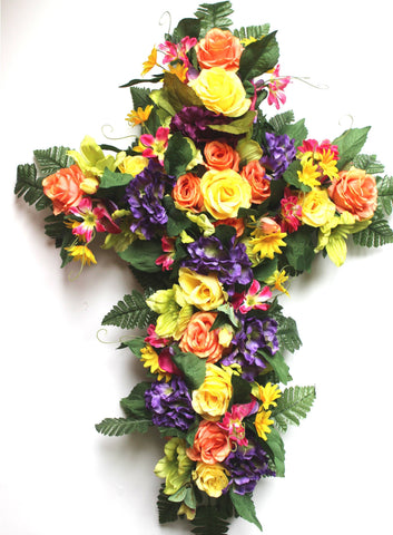 SF'S Premium Exclusive- Roses, hydrangeas, Spring Mix 18 inch Cross