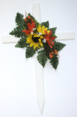 GSF'S Premium Exclusive-  Sunflower Fall Mix Wood Cross