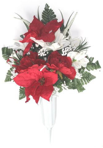 GSF'S Premium Exclusive- Forward Facing Poinsettia and Lily Xmas Mix Vase