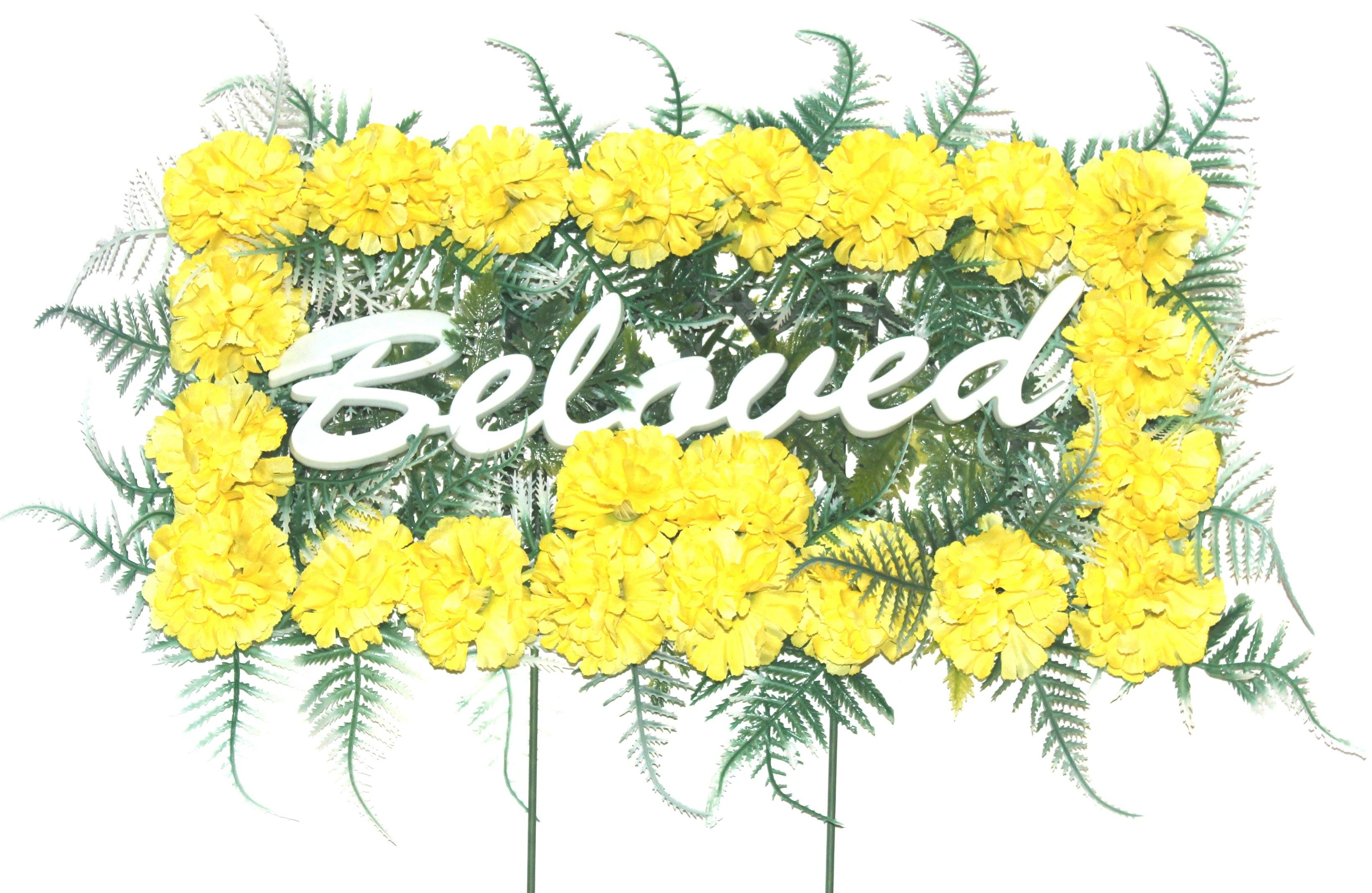 Beloved pillow with yellow silk flowers mightylinksfo