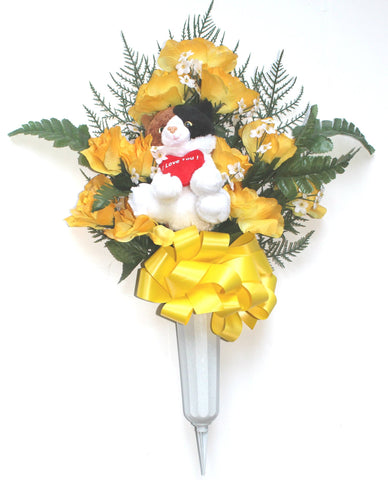 Plush Cat Memorial Flower Vase -Yellow