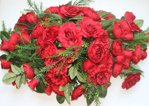 Premium Exclusive -Extra Large Rose Headstone Spray-All Red