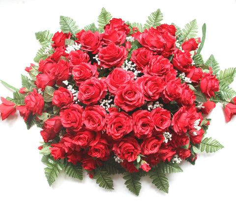GSF's premium Exclusive - Large Rose Headstone Spray - Red Mix