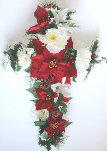 GSF'S Premium Exclusive- Poinsettia, Peony, Pine Cone Christmas Mix 24 inch Cross