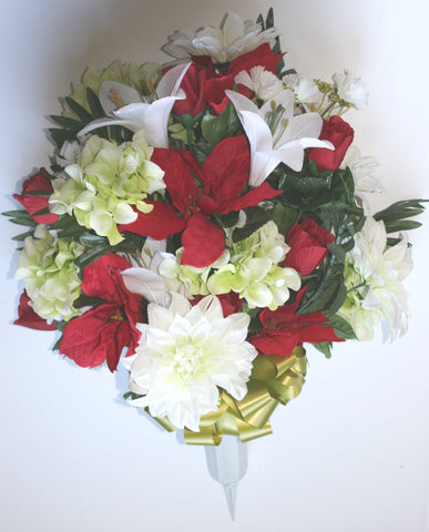 Mixed Dahlia Cemetery Vase with White and Red Flowers
