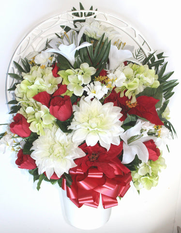 Hoop Basket Arrangement with White Lilies, Delilah's, red Roses, and Poinsettia's