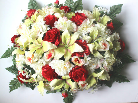 GSF's Premium Exclusive - Large Red/White Lily, Rose, and Peony Mix Headstone Spray