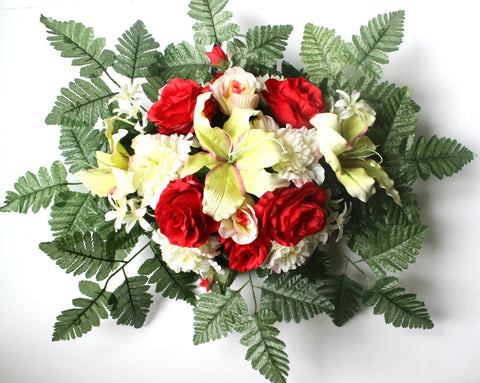 GSF's Premium Exclusive - Small Red/White Lily, Rose, and Peony Mix Headstone Spray