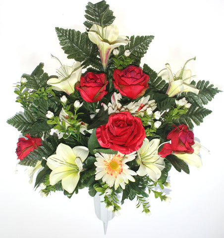 GSF's Premium Exclusive -  Rose/Lily/Gerbera Front Facing Vase - Red/white Mix
