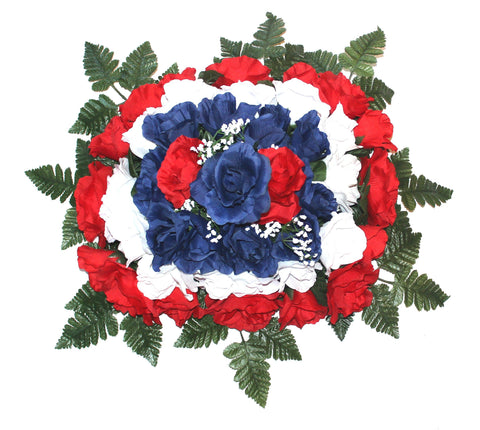 GSF's Premium Exclusive- Large Rose Headstone Spray with Patriotic Silk Flowers