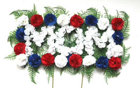 Mom Cemetery Pillow Arrangement - Red, White, and Blue