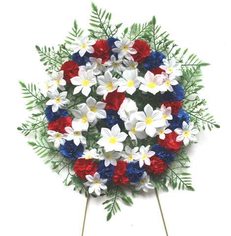 Wreath Pillow - Red, White, and blue - 12 Inch