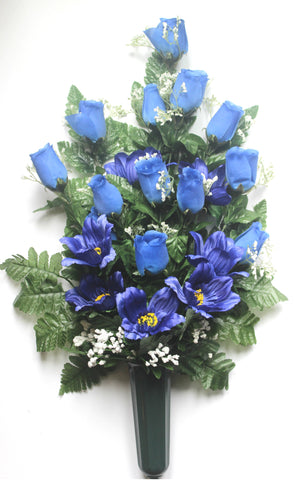 Blue Rose Bud Front Facing Vase with Babies Breath