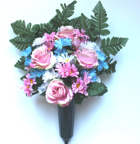 GSF's Premium Exclusive -Pink Roses and Miniature daisy Mix Forward Face Vase