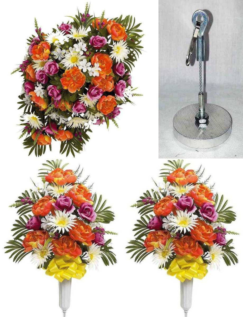 Ultimate Headstone Flower Package With Peonies Orange