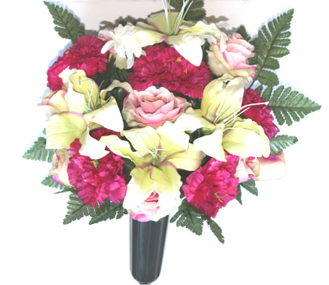 GSF's Premium Exclusive -  Lily/Rose/Ranunculus Magenta/Cream Mix Full Vase