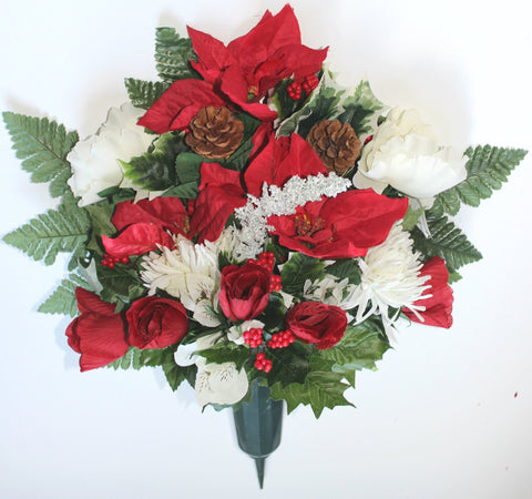 GSF'S Premium Exclusive- Full Poinsettia, Peony, Pine Cone Xmas Mix Vase