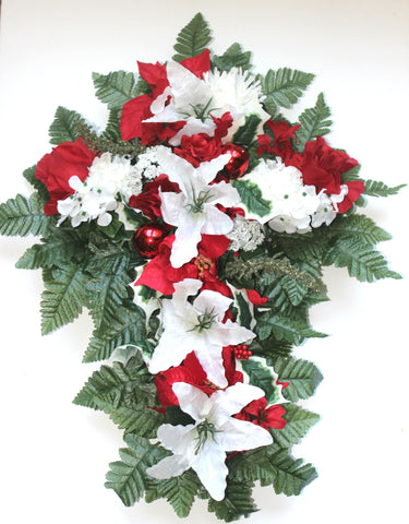 GSF'S Premium Exclusive- Poinsettia, Lilies, and Red ornament Christmas Mix 18 inch Cross