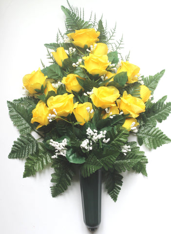 Yellow Rose Front Facing Vase with Babies Breath