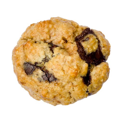 a round golden cookie with chunks of dark chocolate
