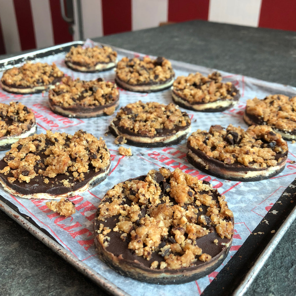 strictly cookies frozen cookie pie with dark chocolate and cookie crumbles