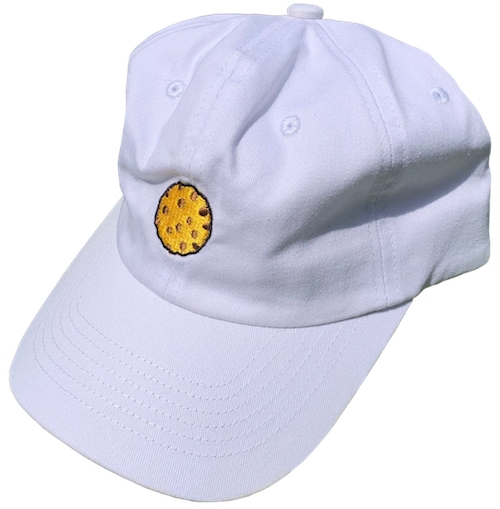 a white baseball cap with an image of a cookie on top