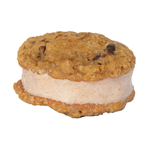 an ice cream sandwich with two oatmeal raisin cookies sandwiching cinnamon ice cream