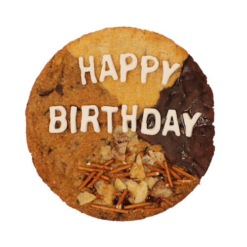 multiple flavor Happy Birthday cookie cake