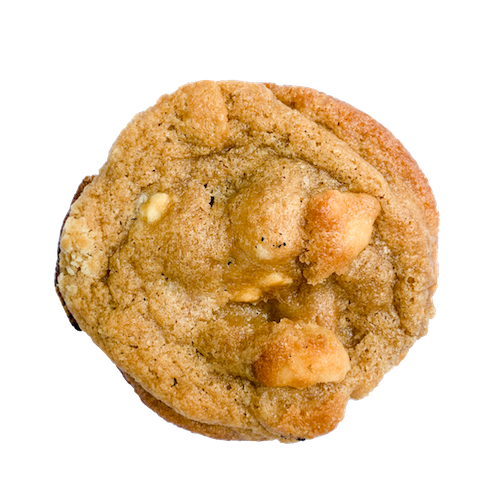 a gluten-free cookie with chunks of white chocolate and macadamia nuts