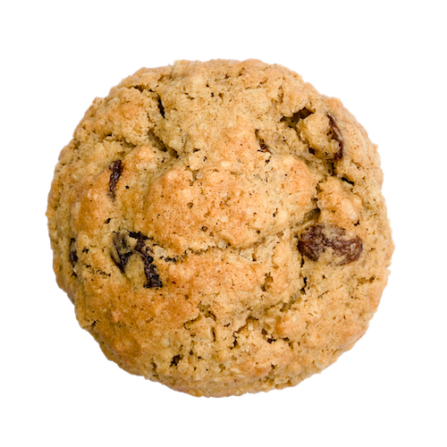 a round cookies with raisins on top