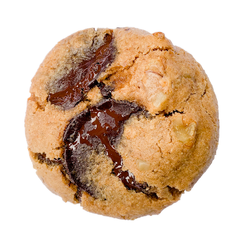 a round cookie with melted chocolate and nuts