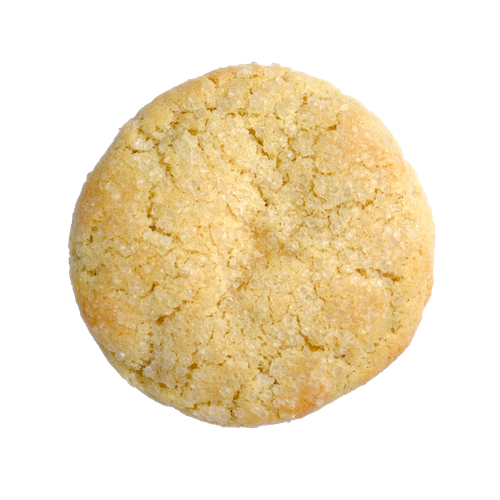 a round golden sugar cookie sprinkled with sugar