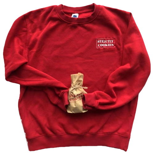 a red sweatshirt with a white strictly cookies logo