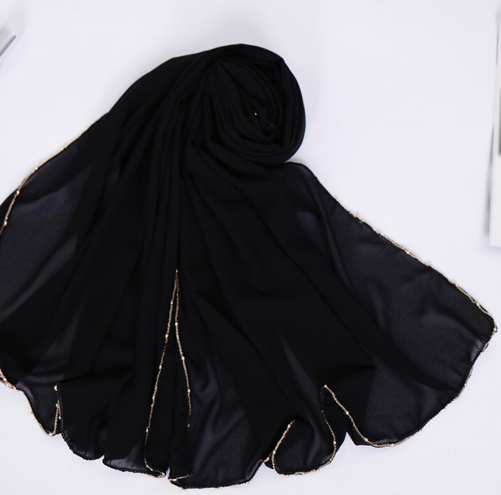 Chain Chiffon Shawl- Black