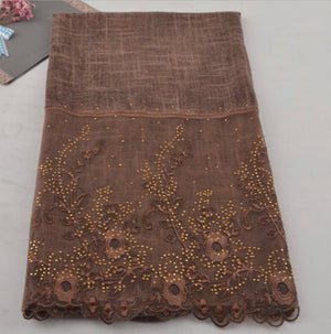 Floral Half Lace Shawl - Chocolate