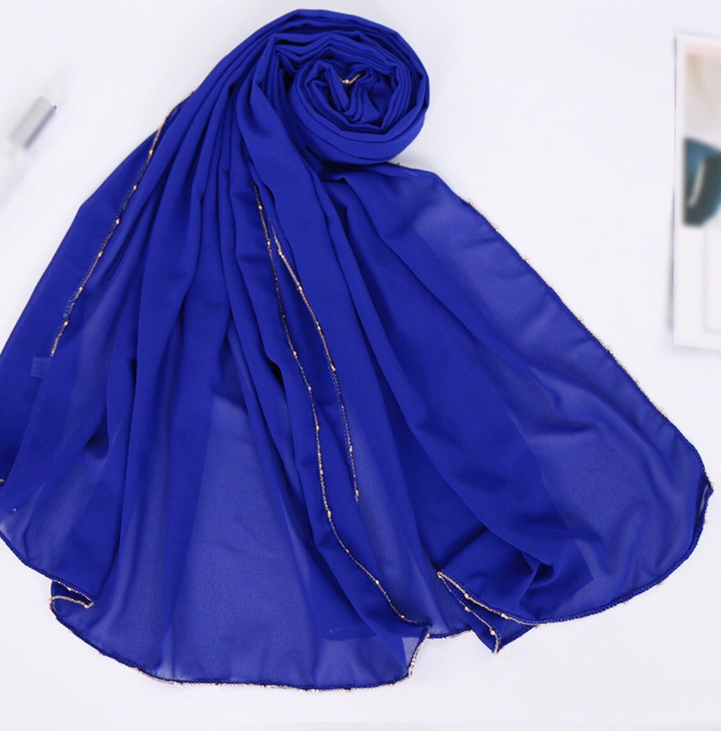 Chain Chiffon Shawl - Blue
