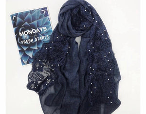 Cotton Lace Edge - Navy Blue