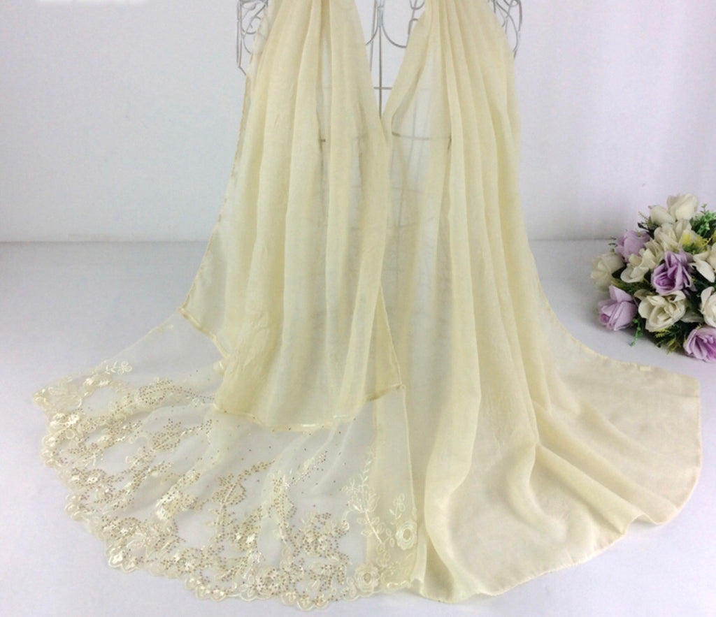 Floral Half Lace Shawl - Cream